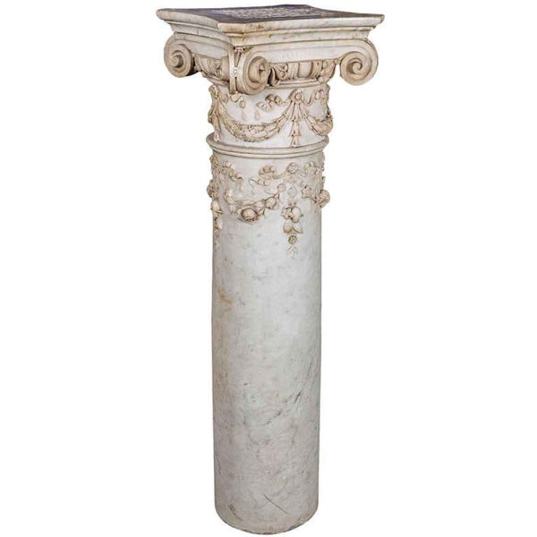 Carved Marble Column Pedestal with Ionic Capital