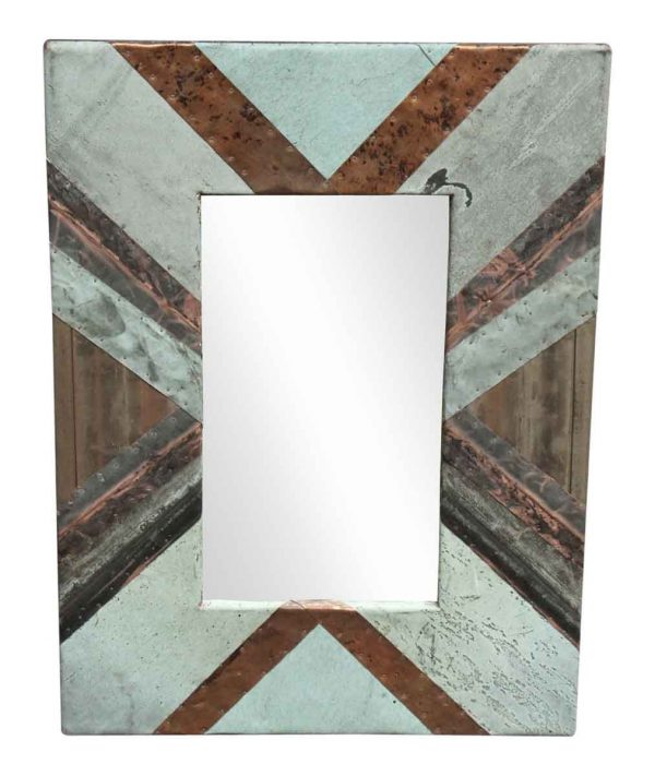 Diagonal Copper Cornice Patchwork Mirror