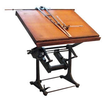 Industrial architects drawing table