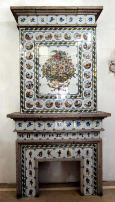Dutch tile fireplace mantel by Royal Tichelaar Makkum