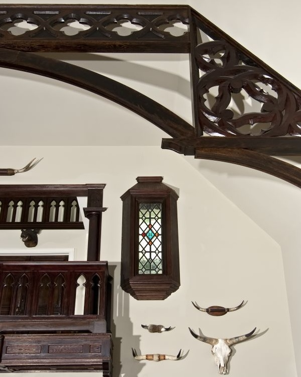 Gothic railing and stained glass