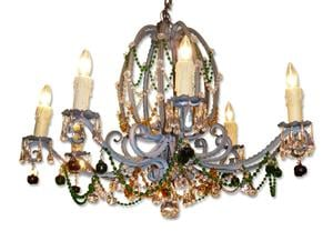 Antique French colored crystal chandelier