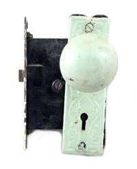 Bronze knob & mortise lock set with painted back plates