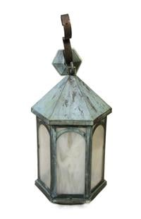 Single antique copper lantern sconce