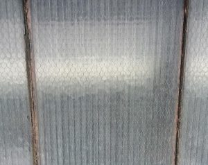Reclaimed vintage ribbed chicken wire glass