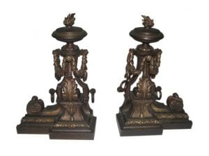 French bronze andirons with flame finials