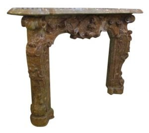 19th Century hand carved Baroque Duquesa Rosa marble mantel