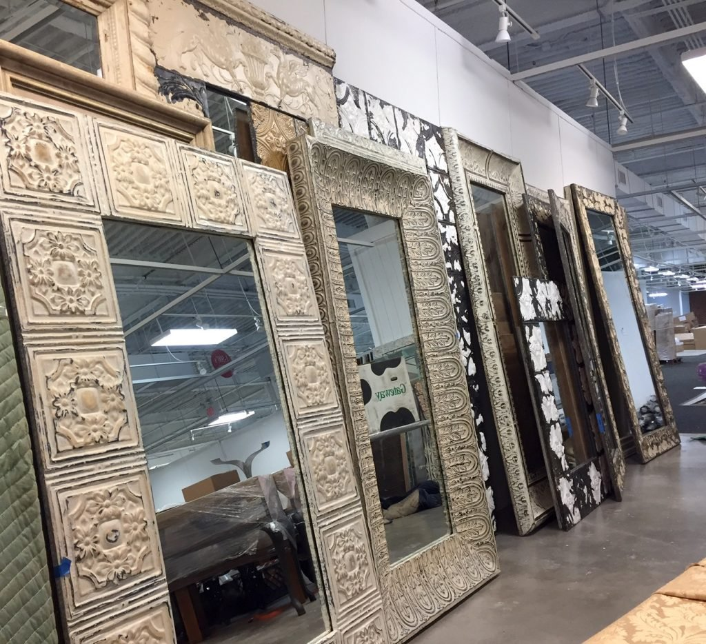 Large selection of full length mirrors being staged at our display at High Point