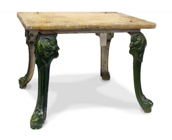 Petite Stool or Side Table with Cast Iron Art Nouveau Legs