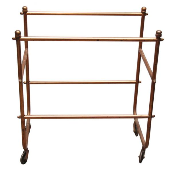 French Brass Tea Cart with Rose Colored Glass Shelves
