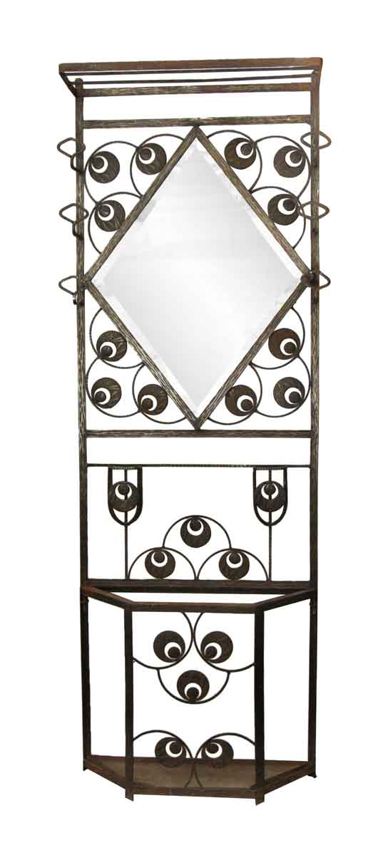 Wrought Iron Wall Rack with Mirror