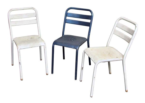White Metal Bistro Chairs Made by Tolix