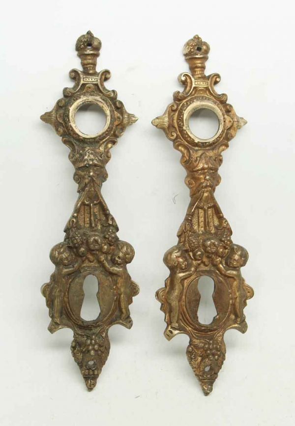 Pair of Highly Ornate Cherubic Figural Back Plates