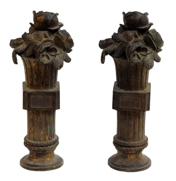 Pair of Floral French Andirons