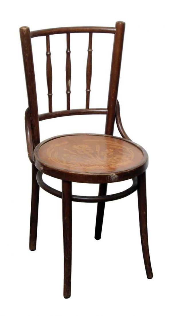 Thonet Wood Chairs with Decorative Seat