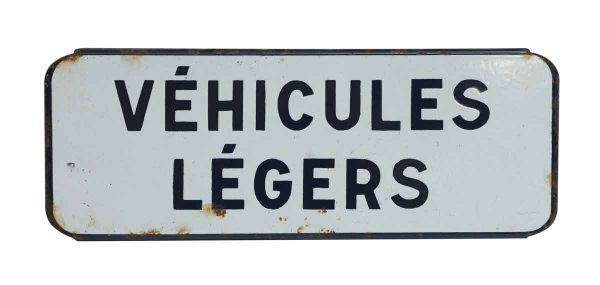 French Black & White Vehicules Legers Sign