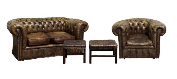 Brown Chesterfield Couch & Chair