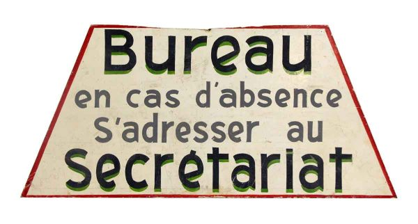 Wooden French Bureau Sign
