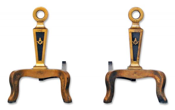 Early 20th Century Brass Masonic Andirons