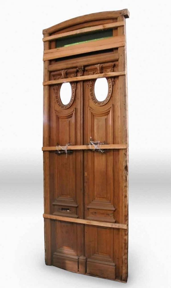 Carved Double Door with Transom