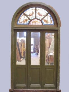 Arched Door with Stained Glass & Transom