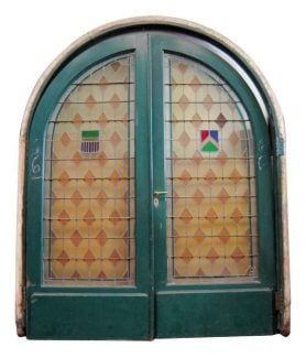 Large Pair of Arched Leaded & Stained Glass Doors