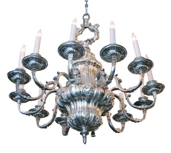 Silvered Bronze Twelve Light Chandelier by E.f. Caldwell