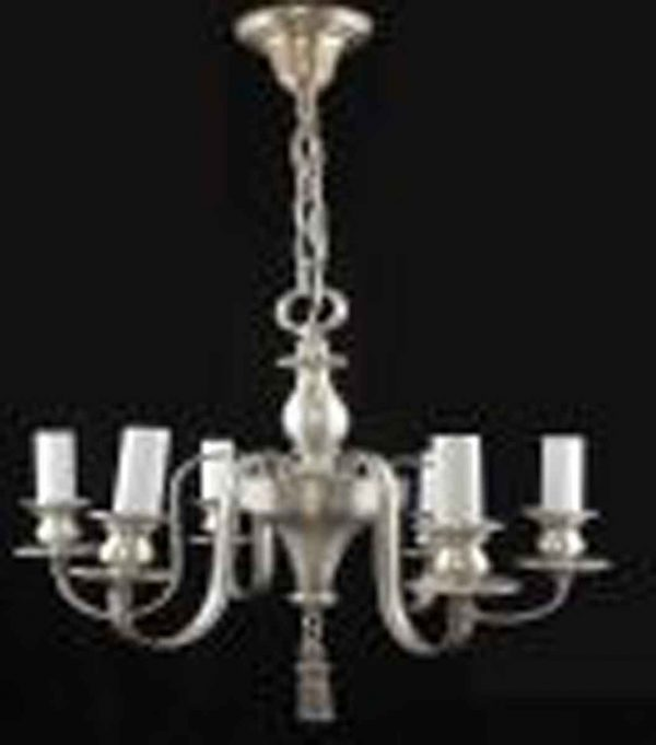 Silvered Bronze Six Light Georgian Chandelier
