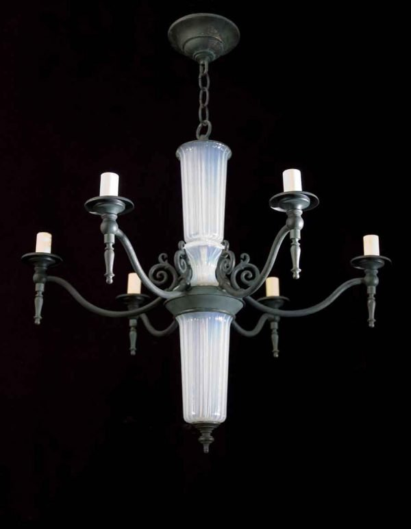 1940s Opaline French Chandelier