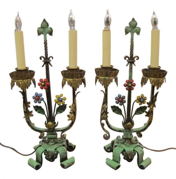 1920s Pair of Floral Table Lamps