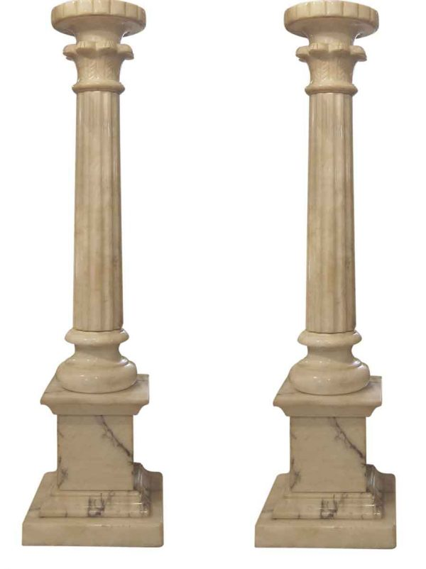 Pair of French Neo Classical Alabaster Column Table Lamps