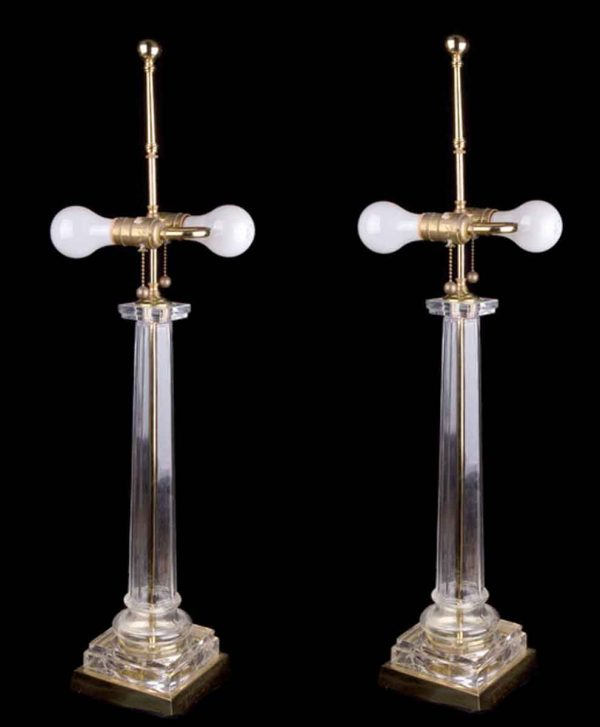 Neoclassical Style Glass Column Lamps