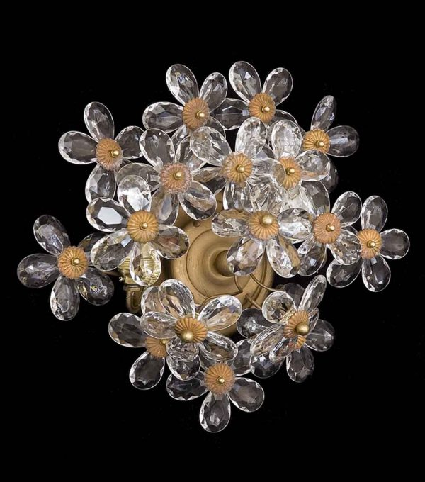 Gold Crystal Lilly Flush Mount Fixture
