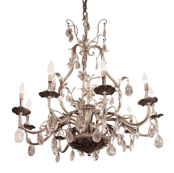 Florentine Wrought Iron & Crystal Chandelier