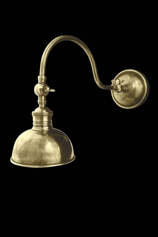 Swan Industrial Style Brass Wall Sconce