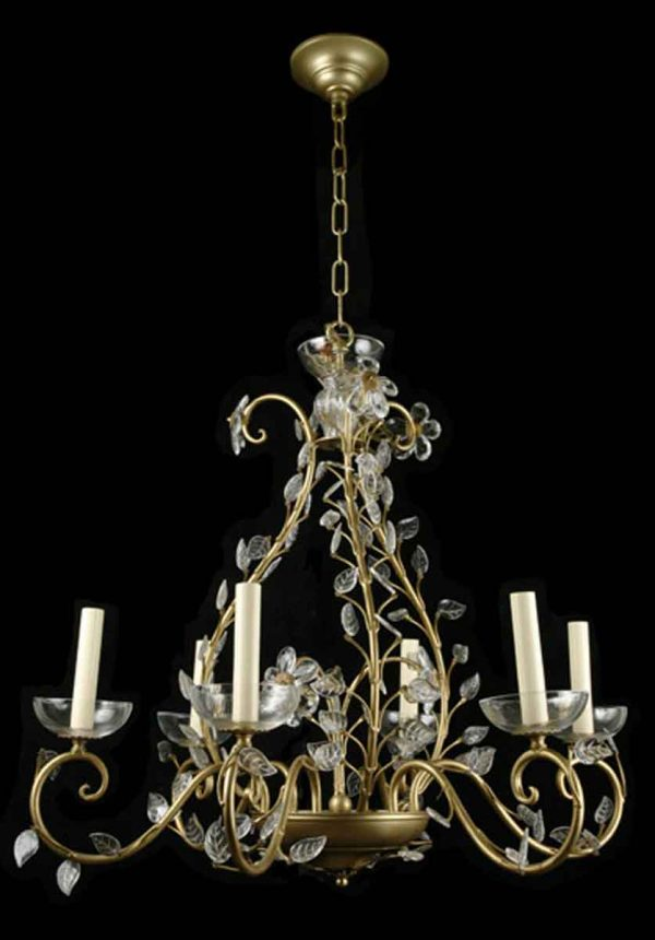 Italian Gold Leaf Chandelier with Crystal Leaves