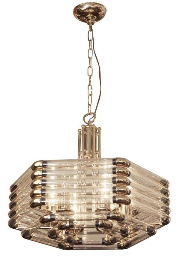 Mid Century Italian Glass Fixture with Brass Fittings