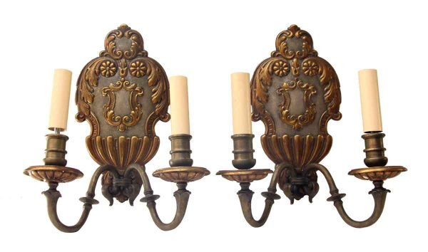 Pair of Armorial Pewter & Gilt Sconces