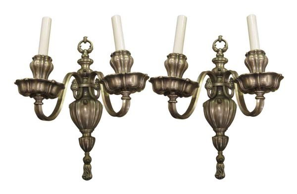 Silvered Bronze Georgian Style Sconces