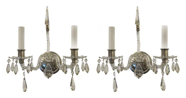 Pair of Cut Crystal Georgian Style Sconces