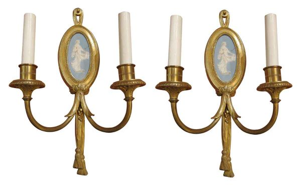 Pair of Wedgewood and Bronze Sconces