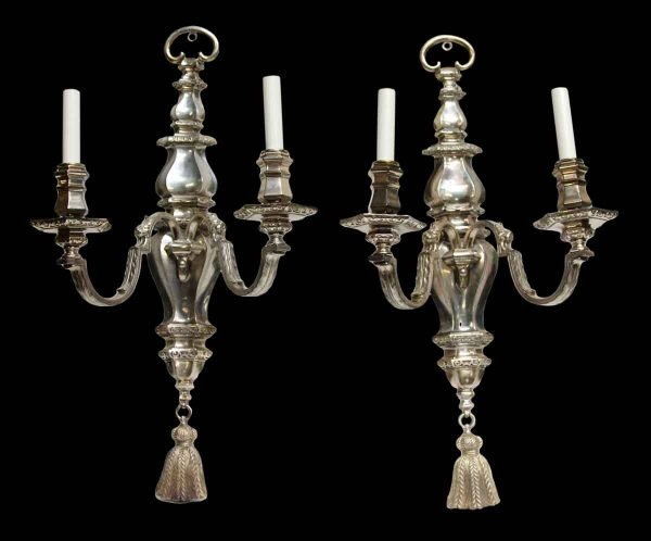 Pair of Silvered Bronze Caldwell Sconces