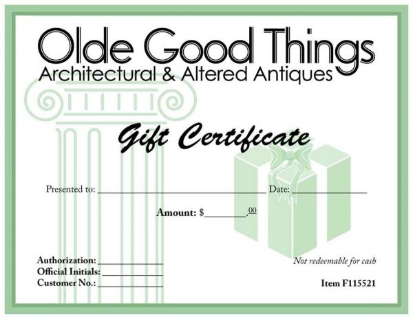 Olde Good Things Gift Certificate