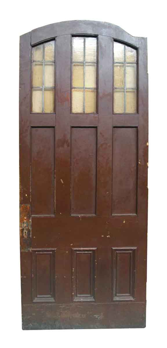 Arched Door with Panels & Leaded Amber Stained Glass Lites