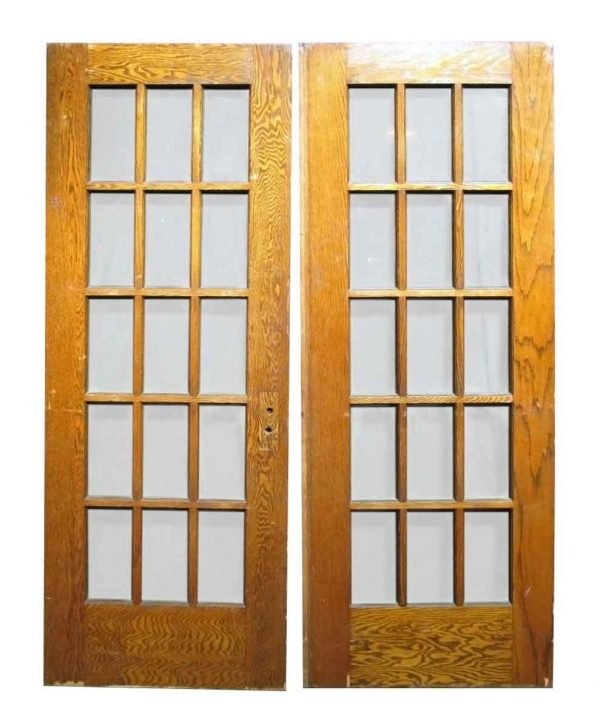 Pair of 15 Lite Oak Doors