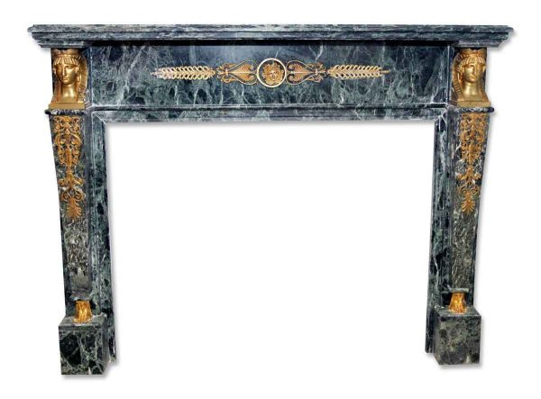 Green French Empire Style Marble Mantel