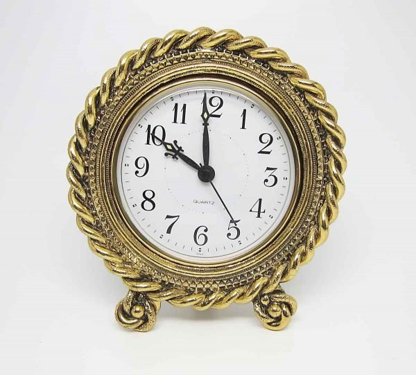 Antique Style Desk Clock with Twisted Rope Design