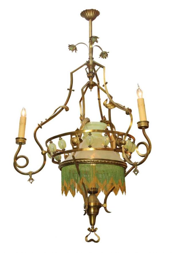 Large 19th Century Art Nouveau Oil or Gas Converted Chandelier