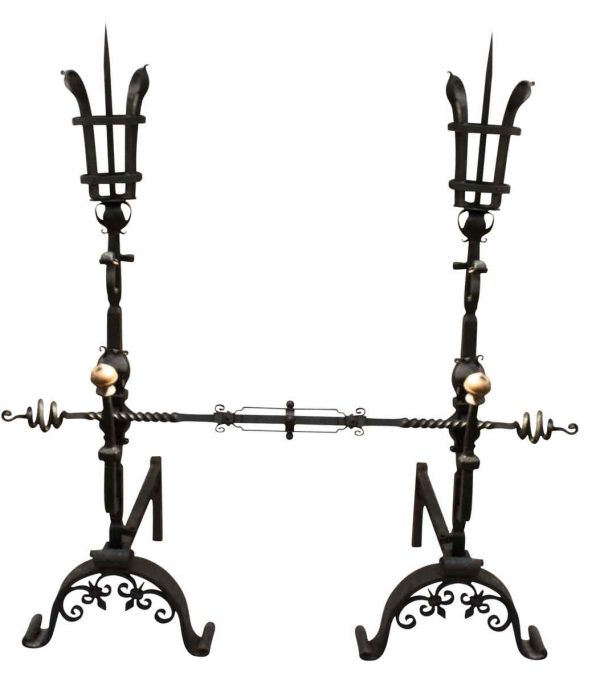 Pair of Wrought Iron Figural Large Andirons