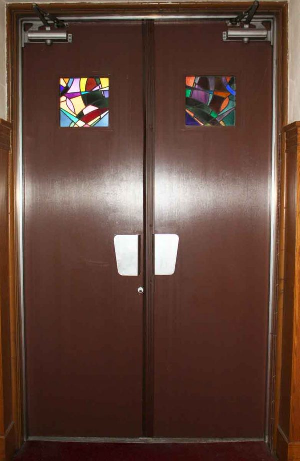 Ribbed Aluminum Clad Entry Doors with Stained Glass Windows